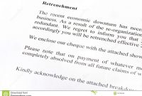 Retrenchment Letter Stock Image Image Of Retrenchment for Retrenchment Letter Template