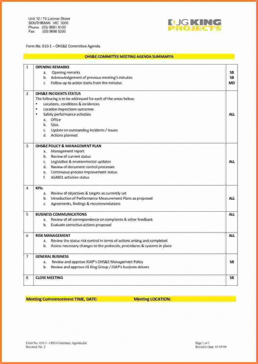 Safety Committee Meeting Template Safety Meeting Minutes Template For Safety Committee Agenda Template
