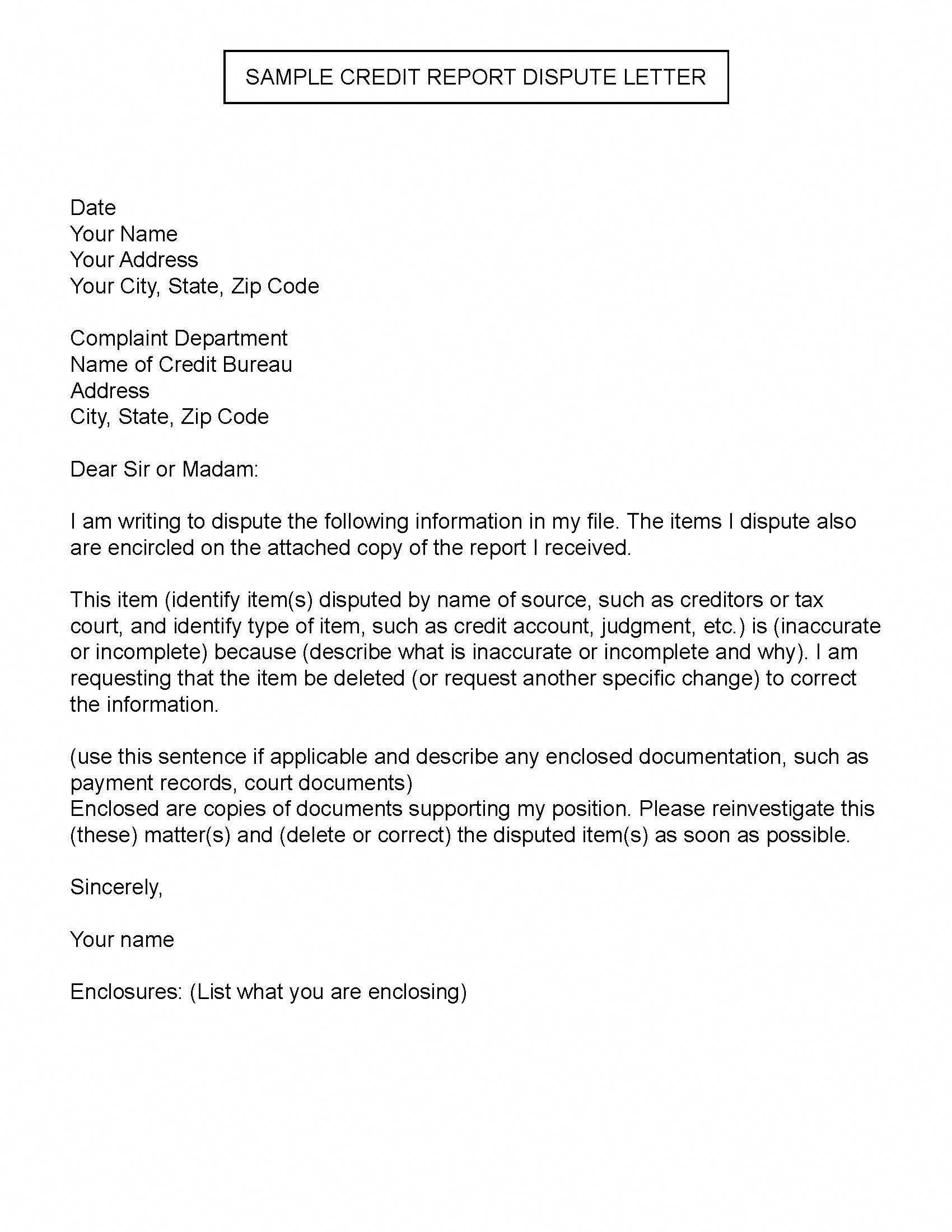 Sample Credit Report Dispute Letter Creditrepairletters Throughout Dispute Letter To Creditor Template