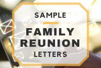 Sample Family Reunion Letters for Family Reunion Letter Template