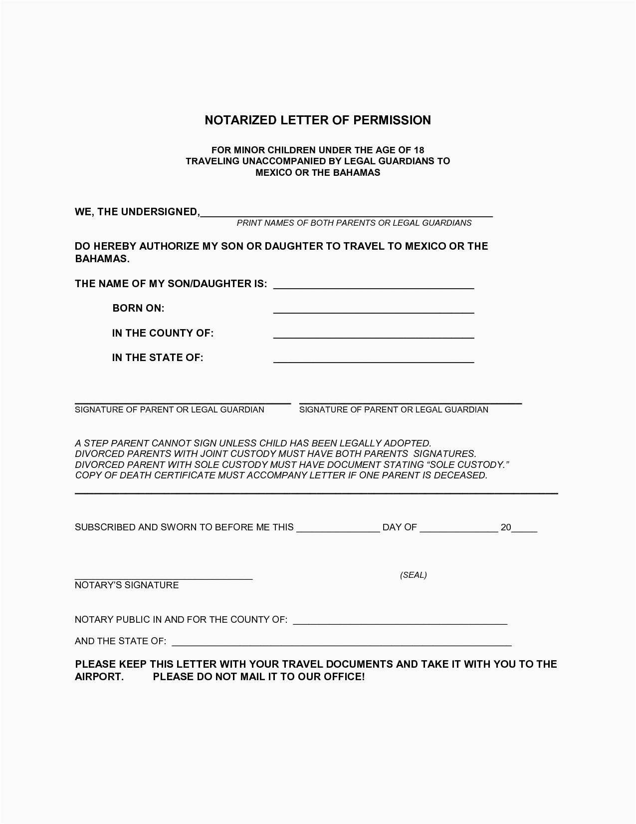 Sample Notarized Letter For Travel With Child  Myvacationplan Within Notarized Letter Template For Child Travel