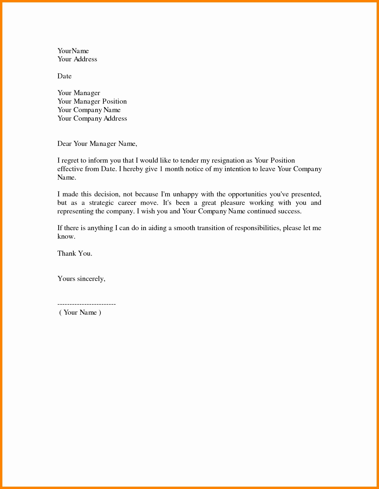 Sample Professional Letter Format  Dayinblackandwhite For Template For Resignation Letter Singapore
