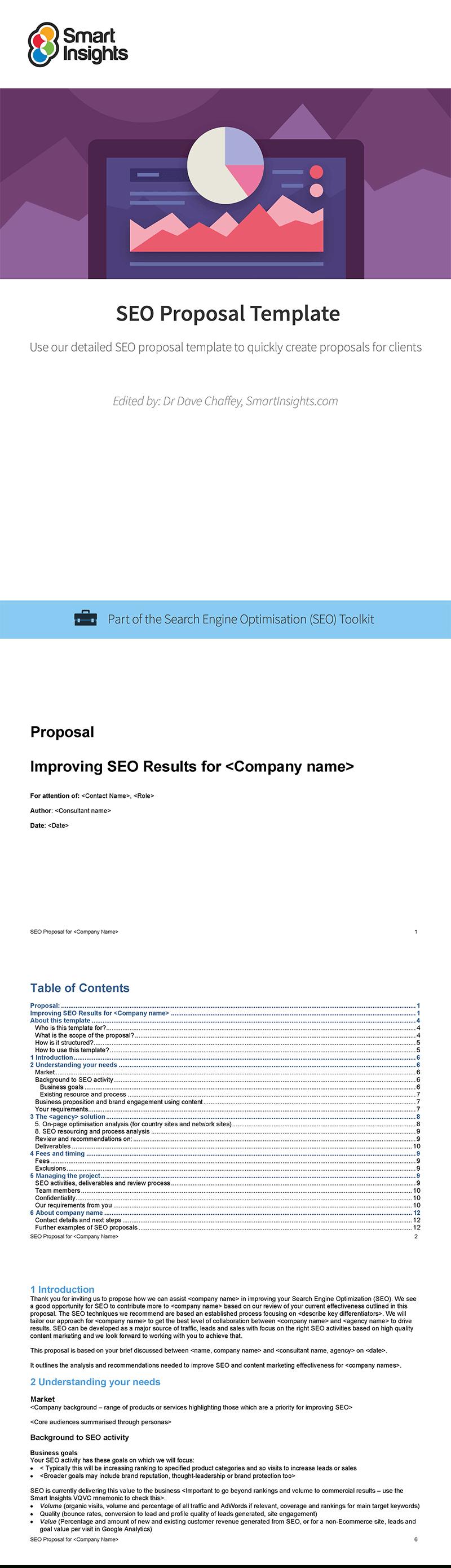 Seo Proposal Template  Smart Insights Throughout Seo Proposal Template