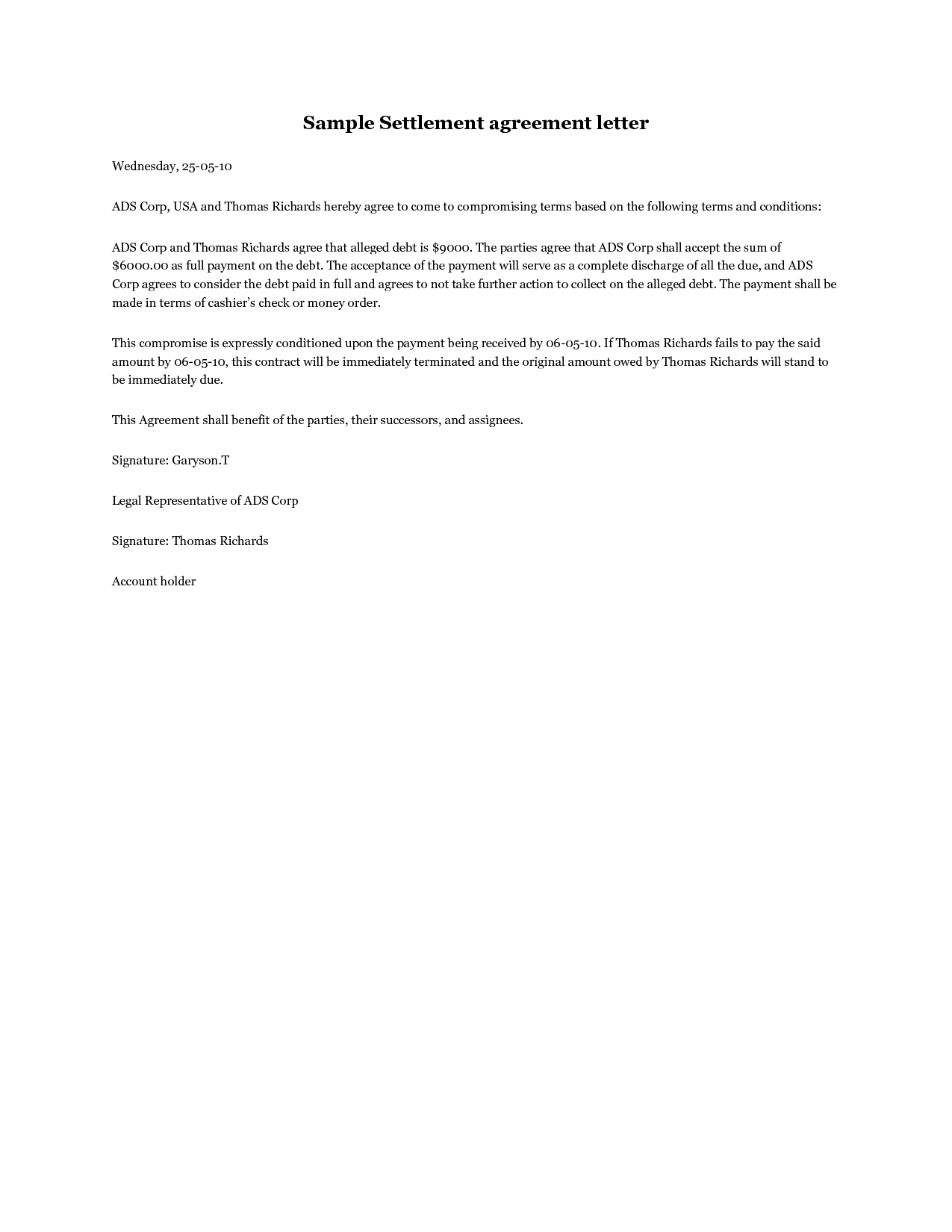 Settlement Agreement Letter  A Debt Settlement Agreement Letter Throughout Settlement Agreement Letter Template