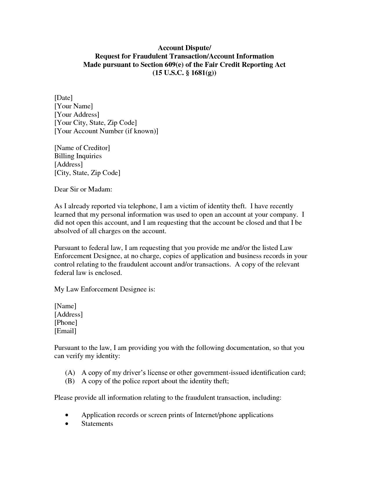 Tax Credit Dispute Letter Sample Valid  Credit Letter Template Within Dispute Letter To Creditor Template