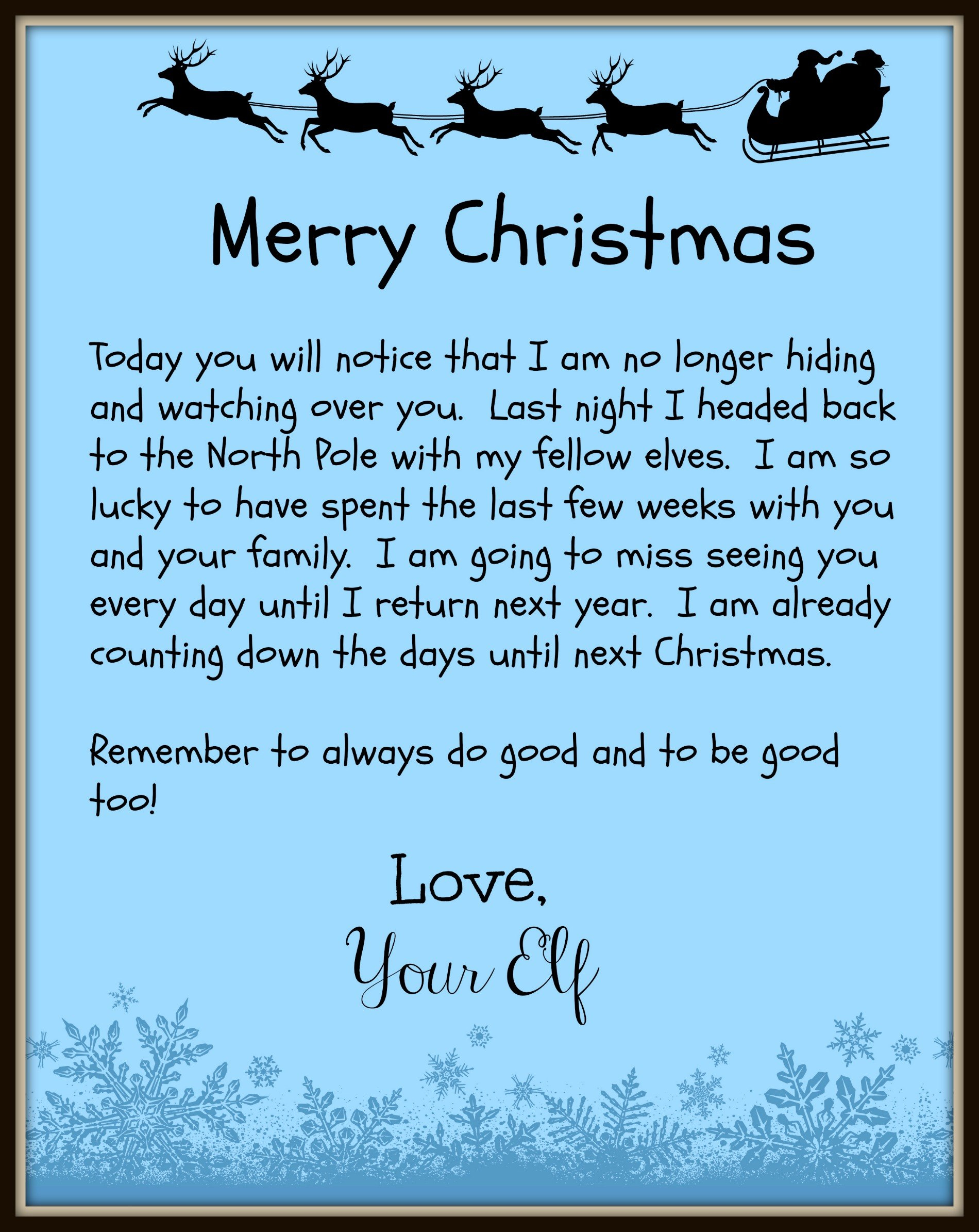The Elf On The Shelf Leaves Behind A Good Bye Letter On Christmas Day Throughout Elf On The Shelf Goodbye Letter Template