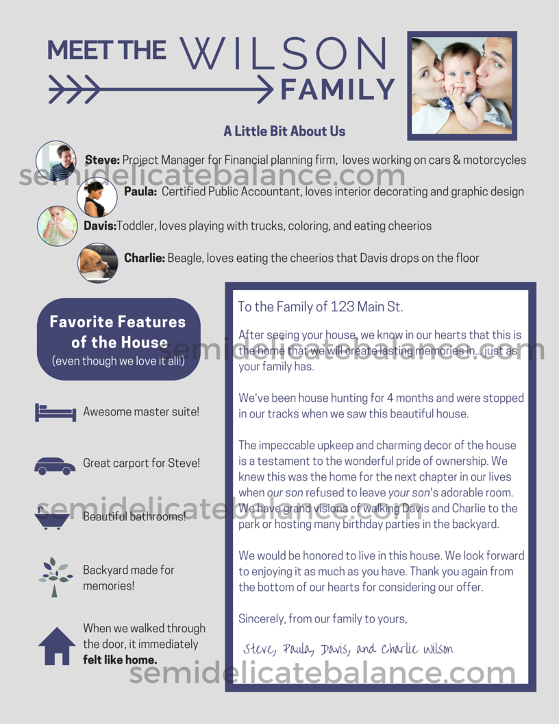 The Epic Buyer Offer Letter That Won Us The House  Home Sweet Home In House Offer Letter Template