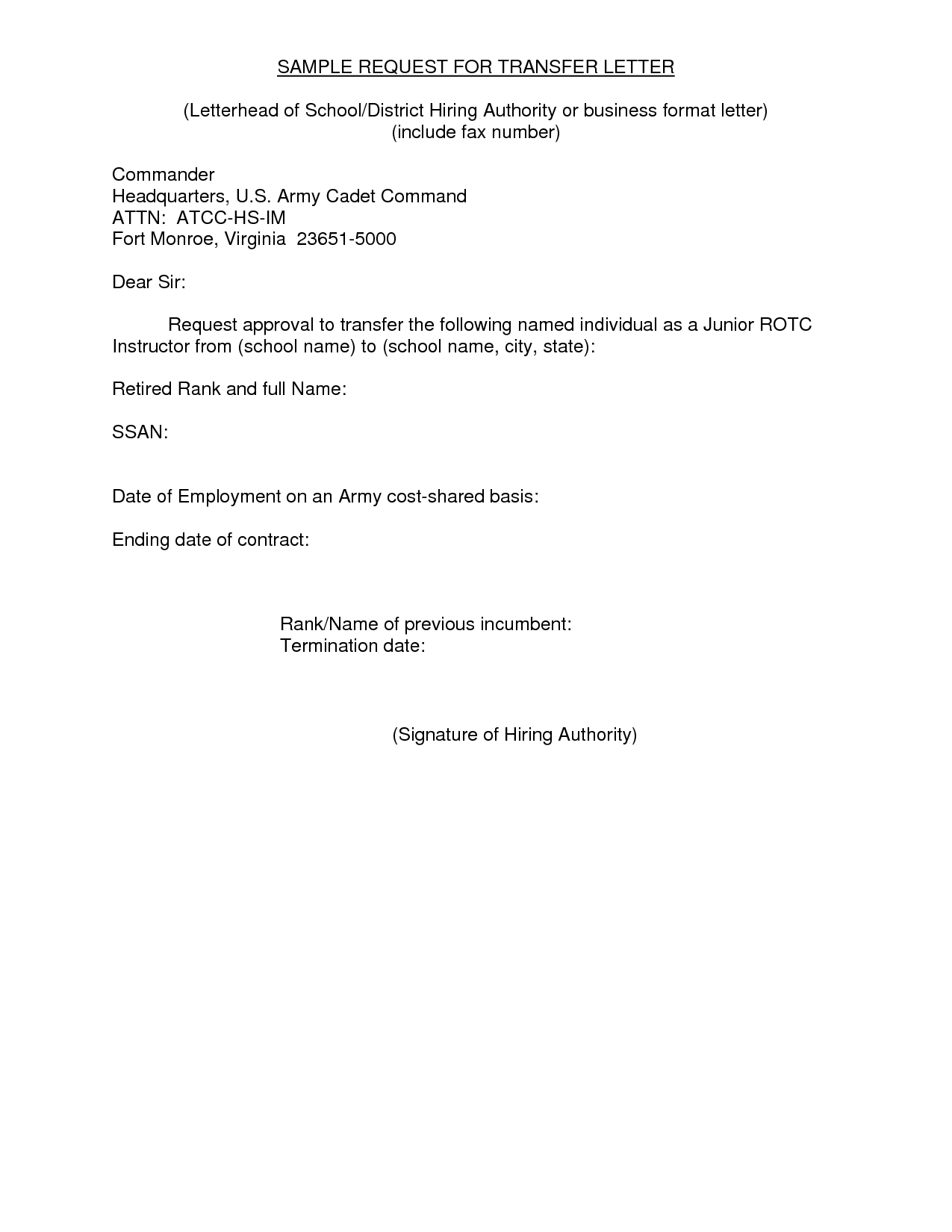 Transfer Request Letter  Example Of A Letter Or Email Message Used Intended For Internal Transfer Letter Template