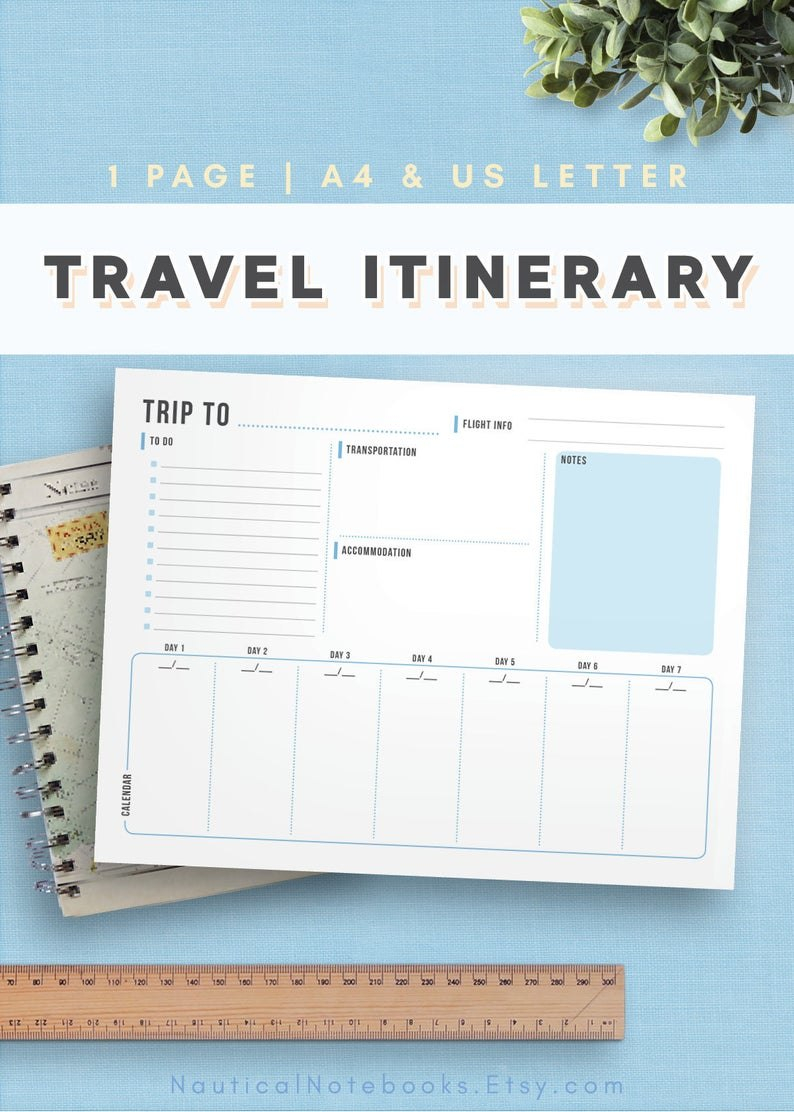 Travel Itinerary Template  Family Travel Planner  Printable Itinerary   Vacation Itinerary For Business Trips Weddings Family Vacation With Regard To Travel Agenda Template
