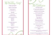Wedding Itinerary Templates Free  Wedding Reception Programs for Wedding Agenda Templates