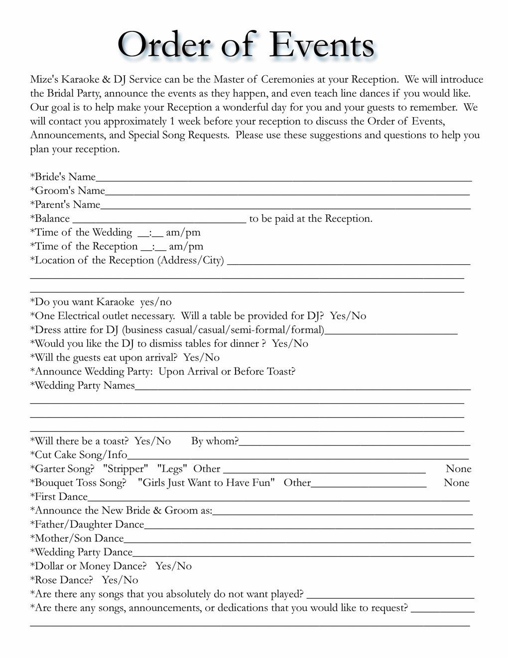 Wedding Reception Agenda Template The Five Common  Nyfamilydigital intended for Wedding Agenda Template