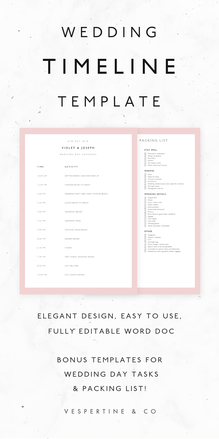 Wedding Timeline Ate Bridal Day Schedule Packing List Microsoft Word For Wedding Agenda Template