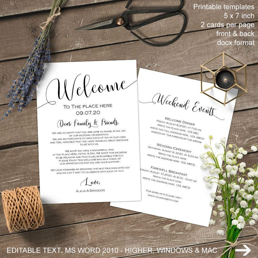 Wedding Welcome Bag Note Welcome Bag Letter Wedding Itinerary Regarding Welcome Bag Letter Template
