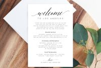 Welcome Letter Template Wedding Itinerary Card Welcome Bag Letter  Wedding Agenda Printable Hotel Welcome Note Templett W intended for Welcome Bag Letter Template