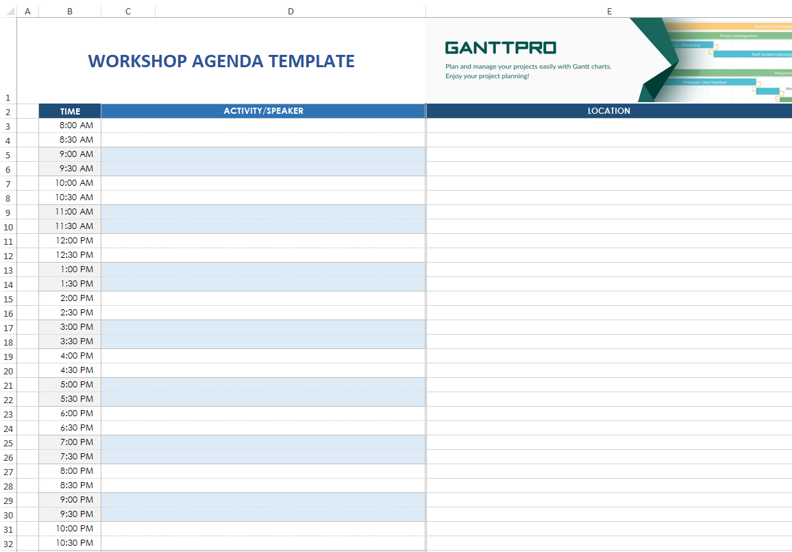 Workshop Agenda Template  Excel Template  Free Download Pertaining To Workshop Agenda Template