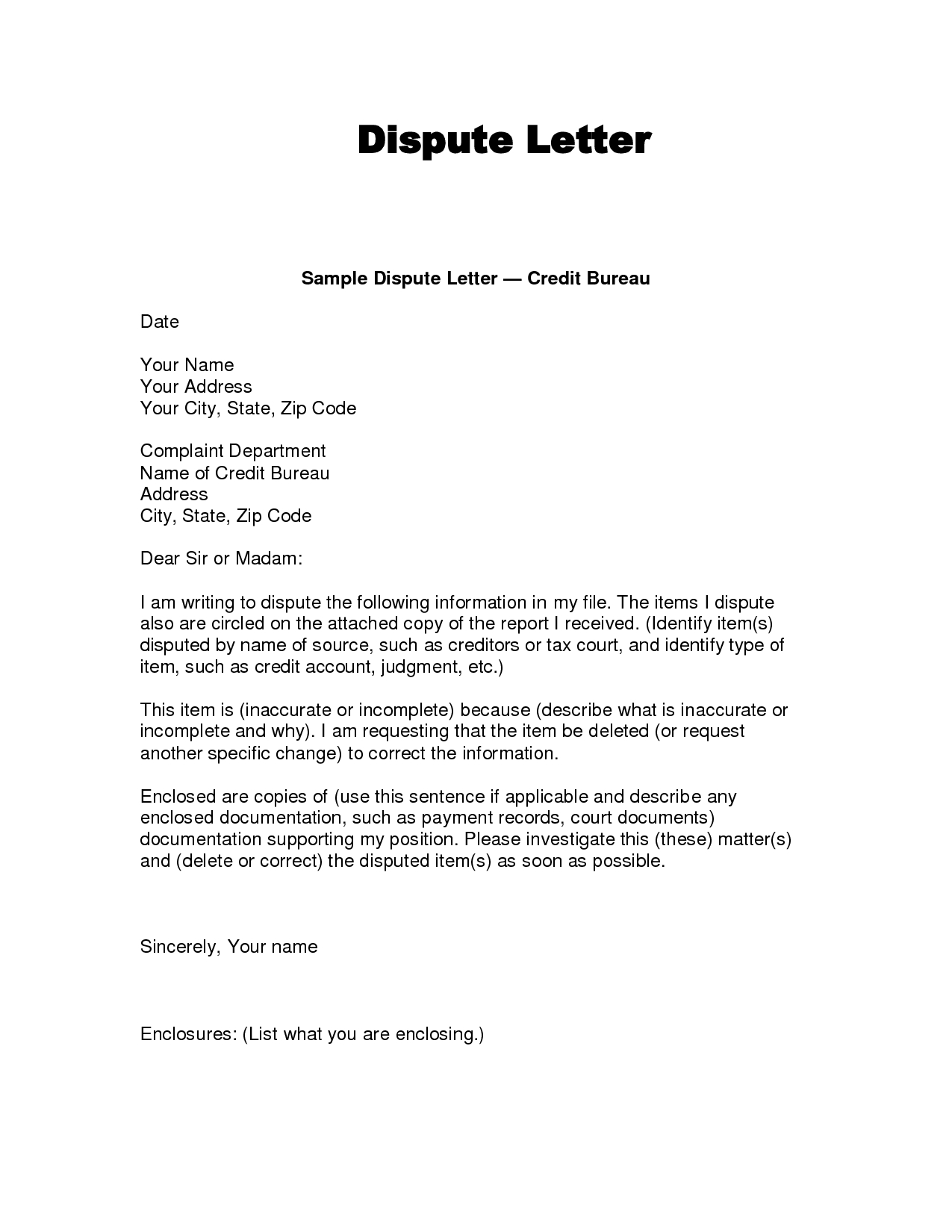 Writing Dispute Letter Format  Make A Habit   Credit Bureaus Within Dispute Letter To Creditor Template