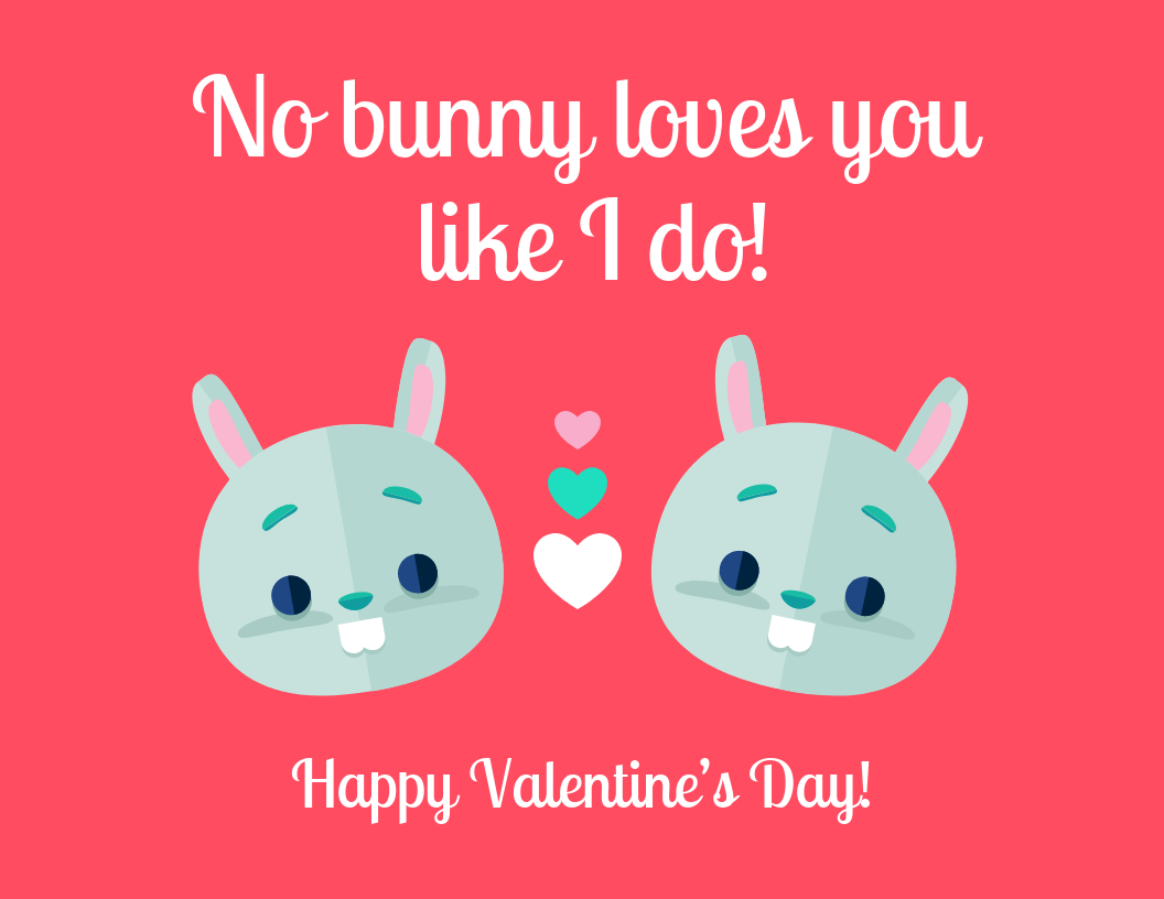 Bunny Valentine's Day Card Template intended for Valentine's Day Card Printable Templates