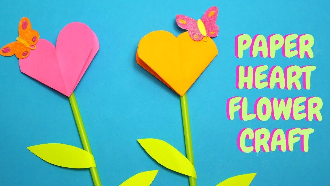Paper Heart Flower Craft  Mothers Day Craft For Kids Pertaining To Paper Heart Flower Craft With Template