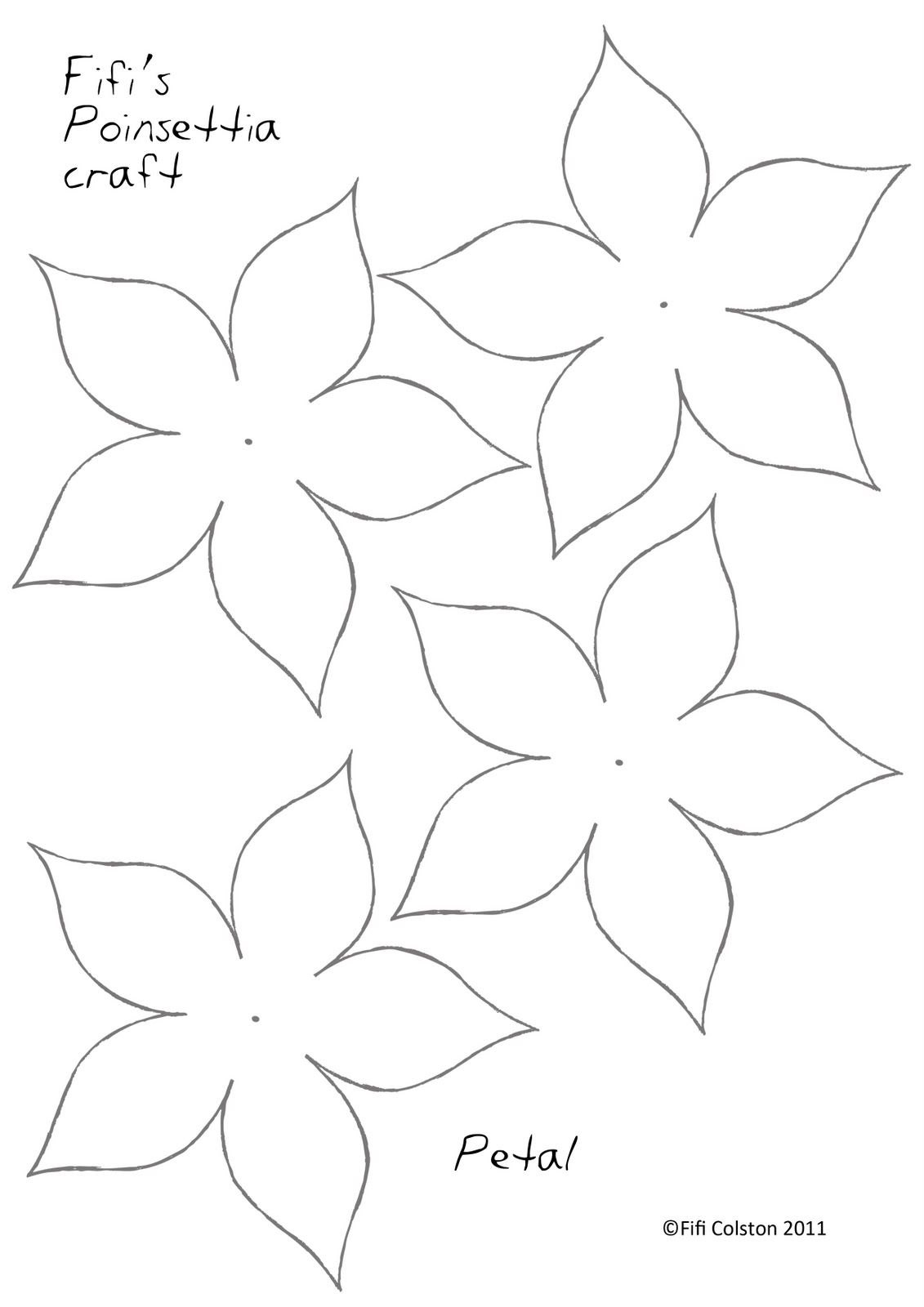 Poinsettia Paper Flower Template …  Paper Flowers Craft Intended For Paper Heart Flower Craft With Template