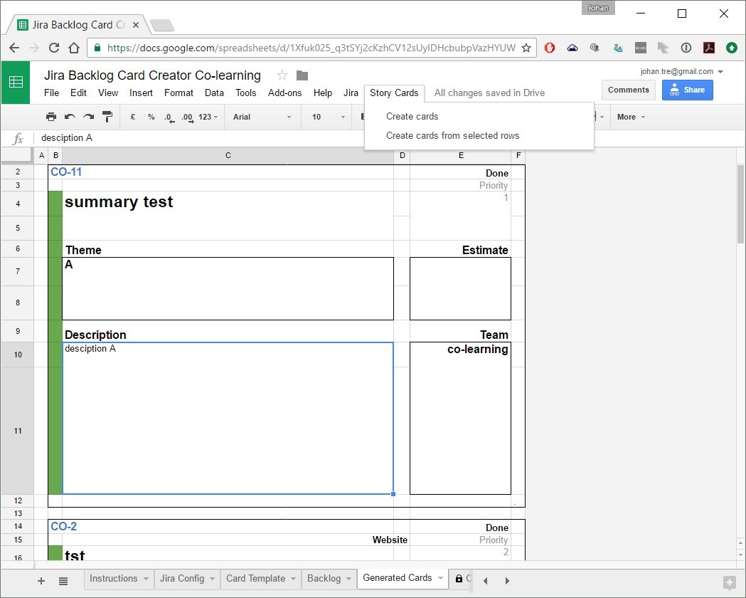 A Backlog Item Card Creator In Google Sheets  Colearningbe For Agile Story Card Template