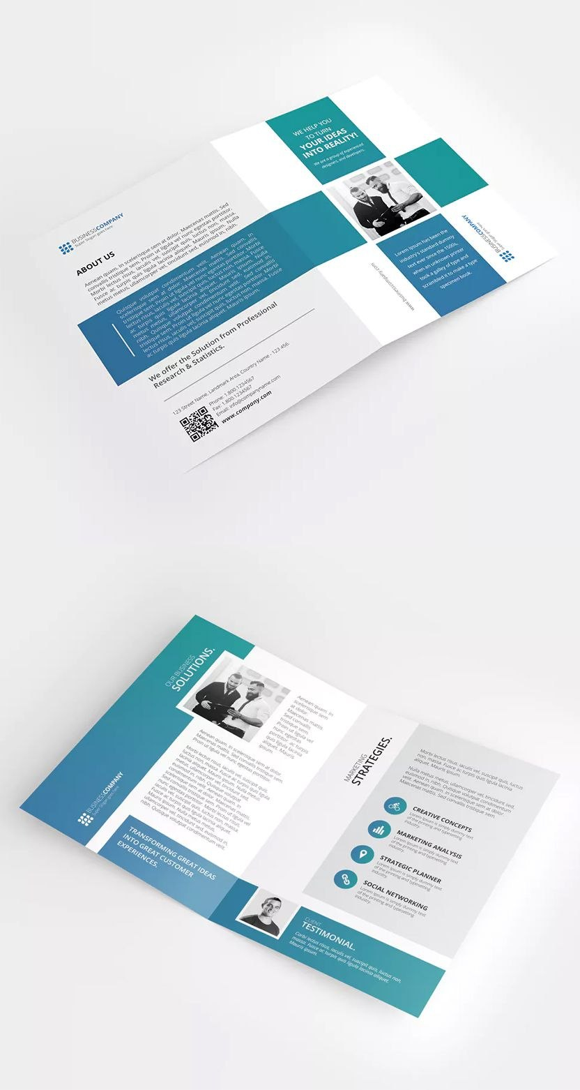 A Bifold Brochure Template Psd • Clean And Modern Layout • Cmyk With Two Fold Brochure Template Psd