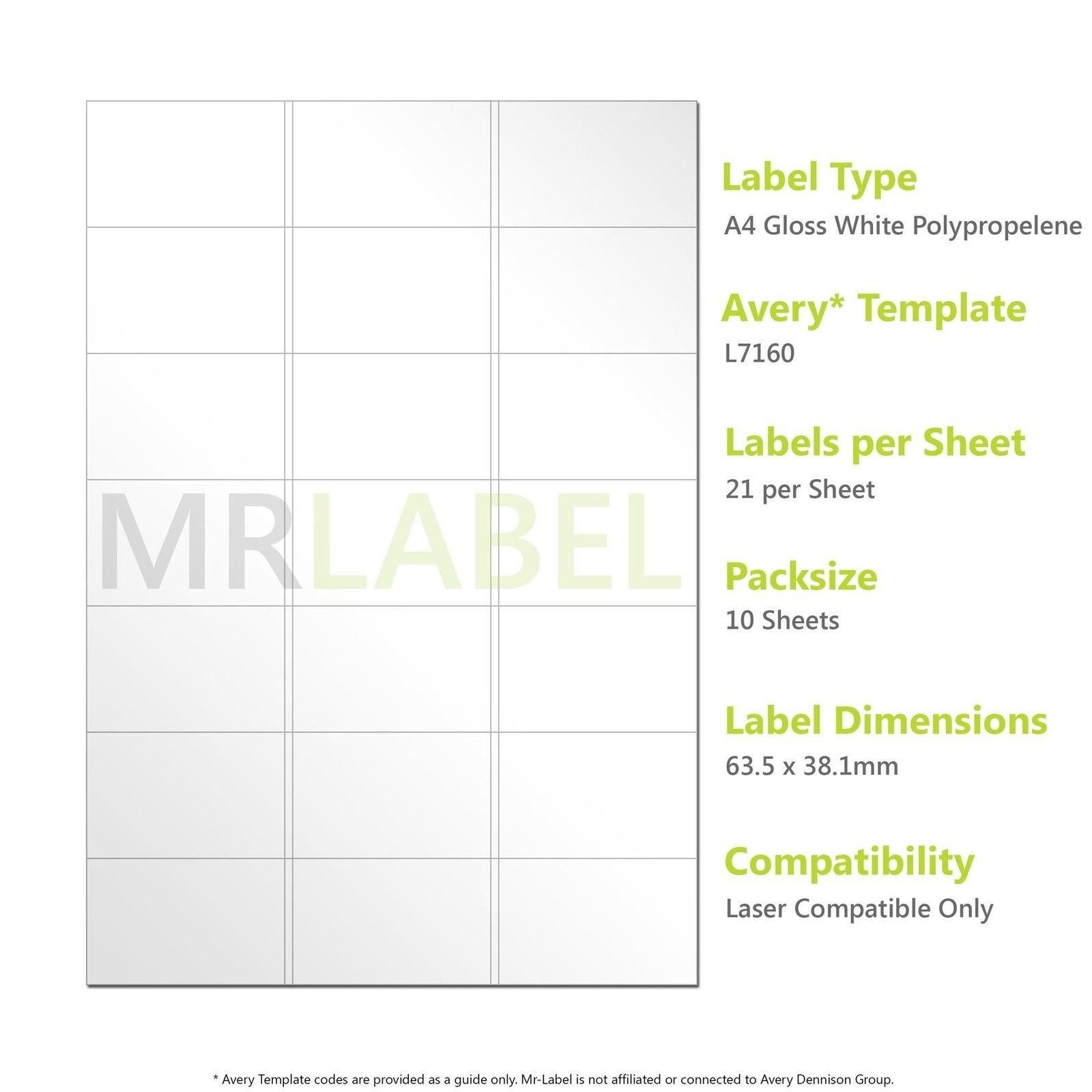 A Gloss White Pp Labels   Per Sheet   Sheets  Laser Inside Label Template 21 Per Sheet