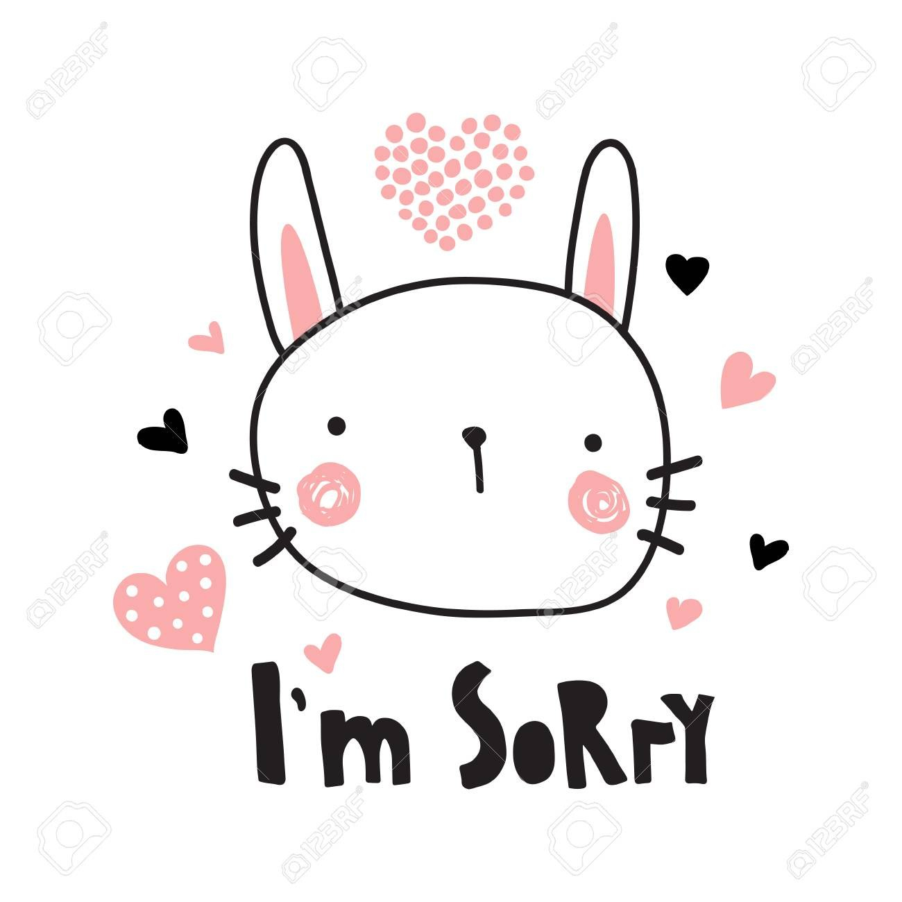 A Vector Template Of A Greeting Card I'm Sorry Text And Cute With Sorry Card Template