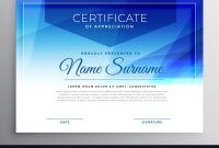 Abstract Blue Award Certificate Design Template Vector Image regarding Award Certificate Design Template
