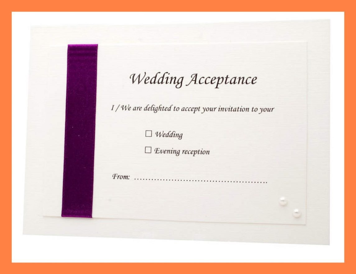 Acceptance Card Template Complete Wording Wedding Templates N Regarding Acceptance Card Template