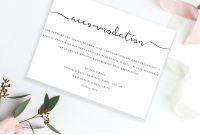 Accommodations Card Insert Wedding Information Card Template  Etsy regarding Wedding Hotel Information Card Template