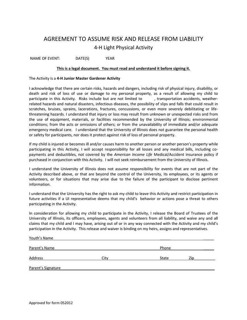 Acknowledgement Of Risk And Release Of Liability Form  Junior Within Master Risk Participation Agreement Template