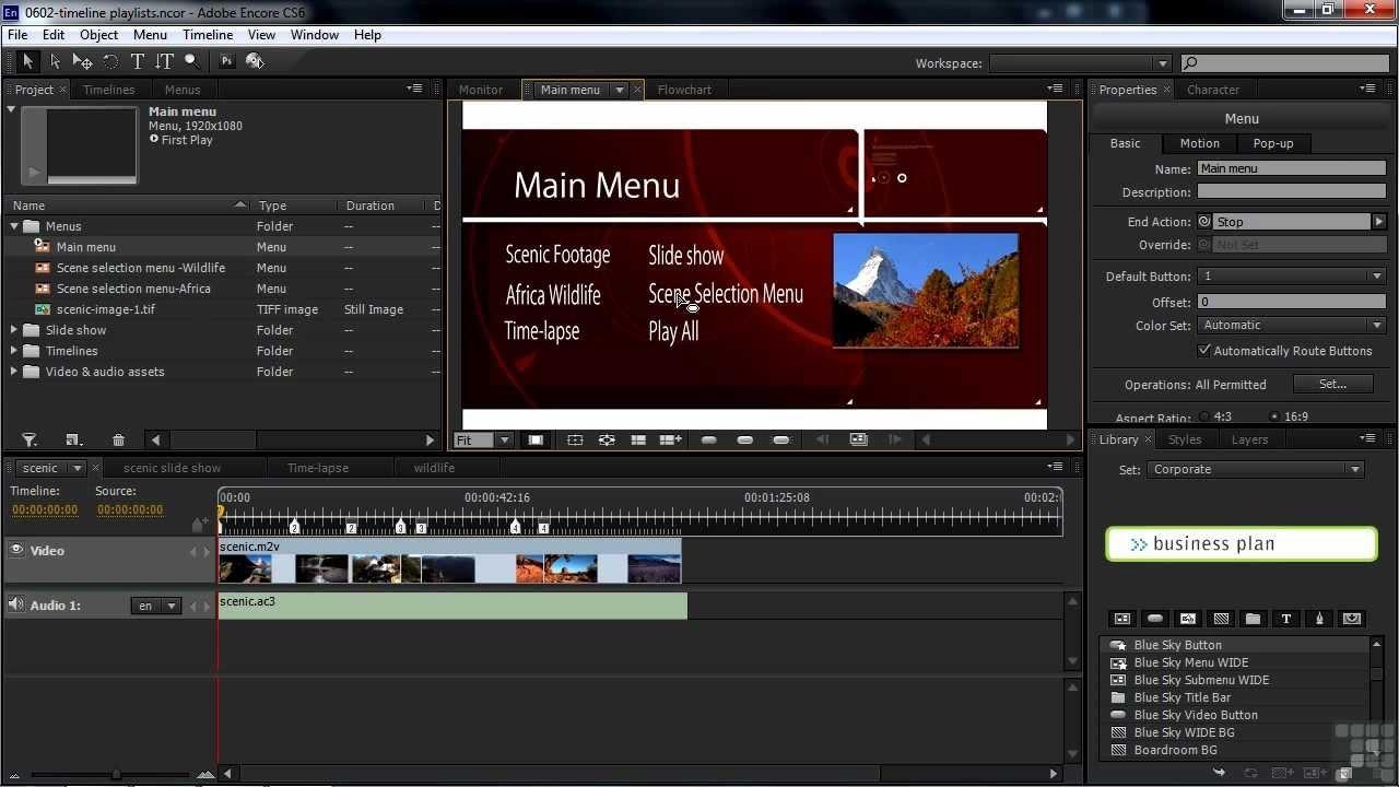 Adobe Encore Cs Tutorial  Building Playlists In Encore Pertaining To Encore Cs6 Menu Templates Free