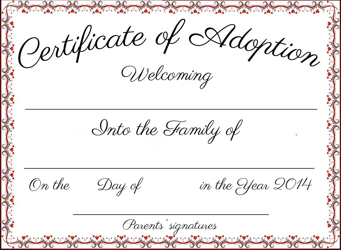 Adoption Certificate Template Word  Certificatetemplateword For Blank Adoption Certificate Template