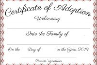 Adoption Certificate Template Word  Certificatetemplateword throughout Adoption Certificate Template