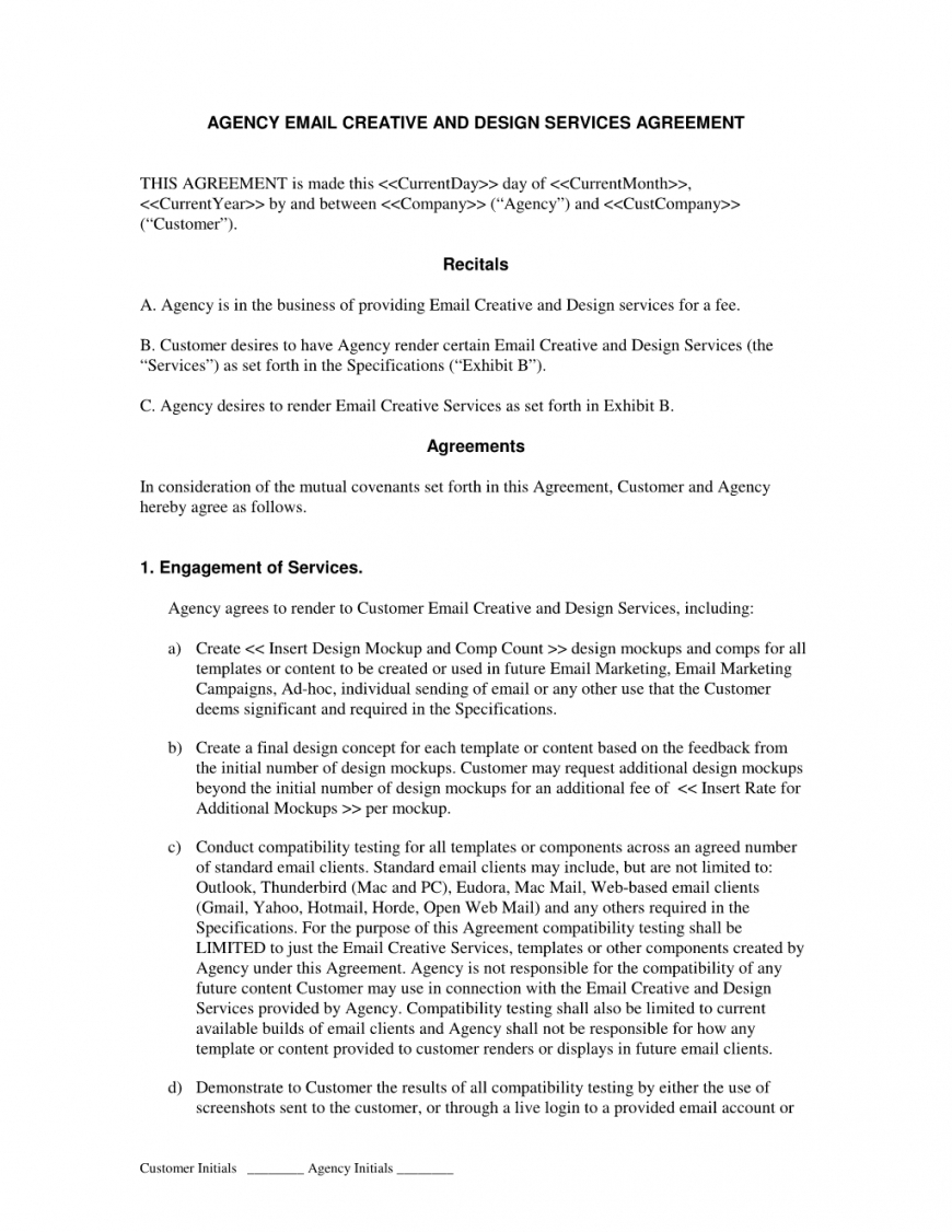 Advertising Agency Agreement Template Free With Regard To Free Advertising Agency Agreement Template
