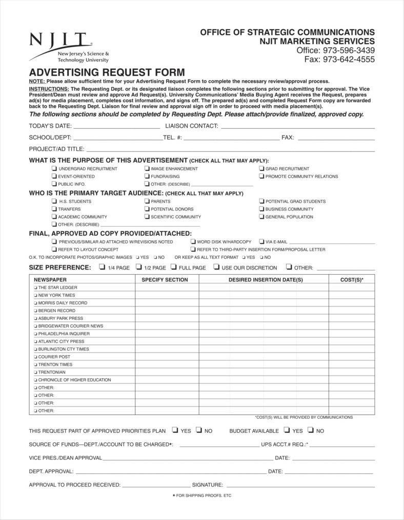 Advertising Order Form Templates Free Word Pdf Excel Format Throughout Free Newspaper Advertising Contract Template