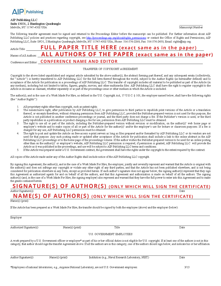 Aip Copyright Transfer Agreement  Icnaam Inside Copyright Assignment Agreement Template
