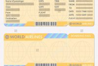 Airline Or Plane Ticket Template Boarding Pass Blank And Airplane within Blank Train Ticket Template