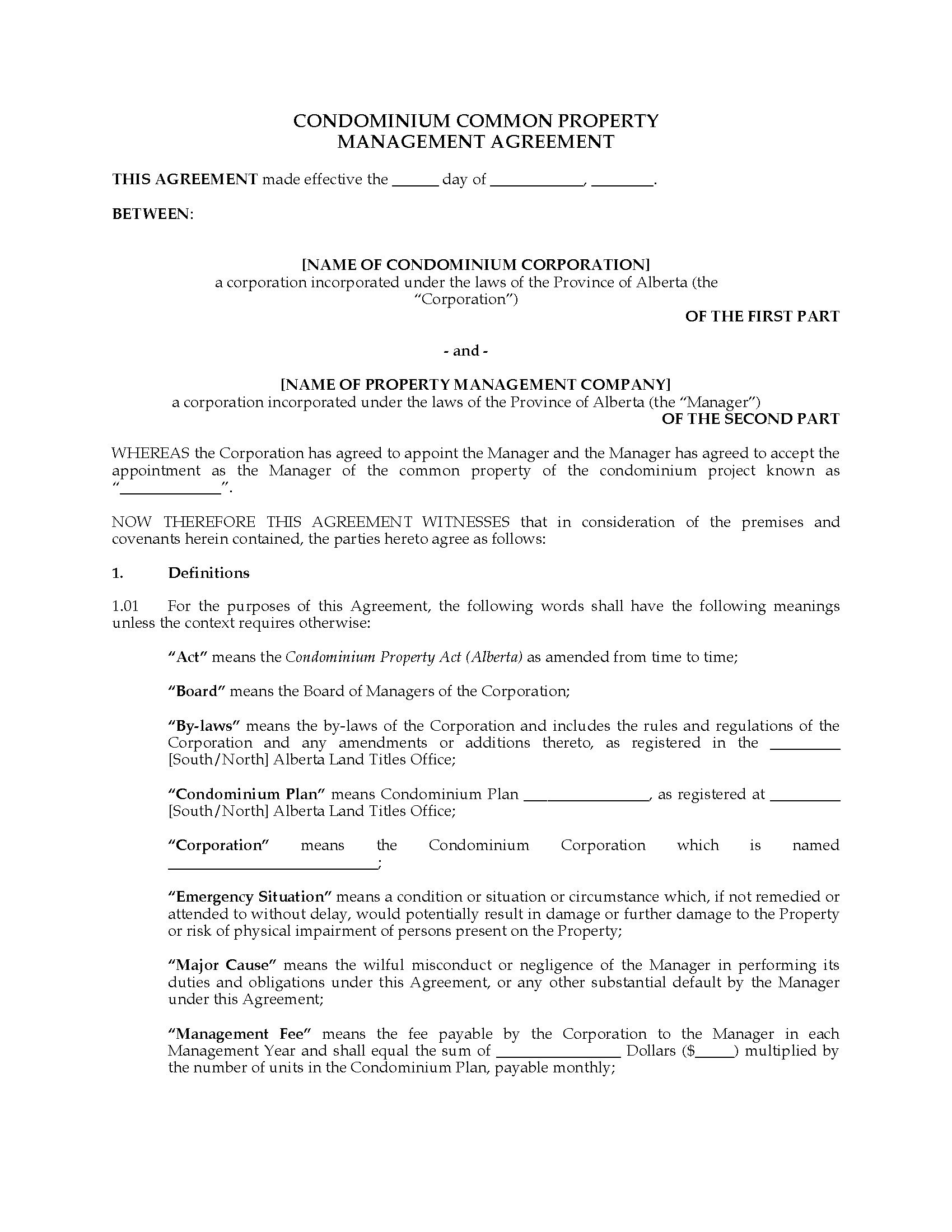 Alberta Condo Common Property Management Agreement  Legal Forms And Throughout Free Commercial Property Management Agreement Template