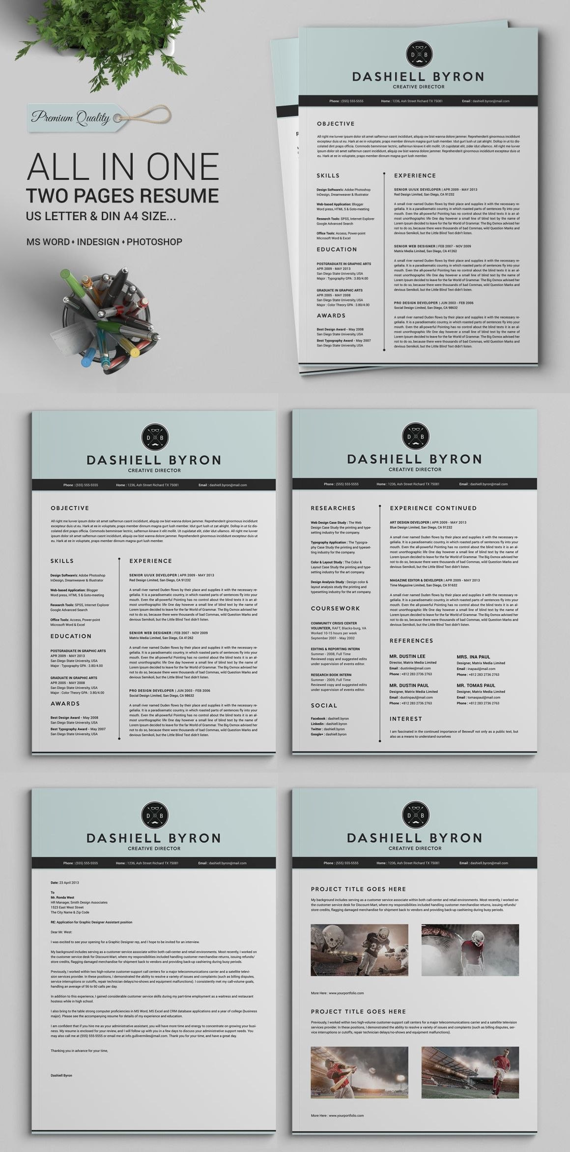 All In One Two Pages Resume Cv Pack Template Indd Psd Docx  Doc Regarding Menu Template For Pages