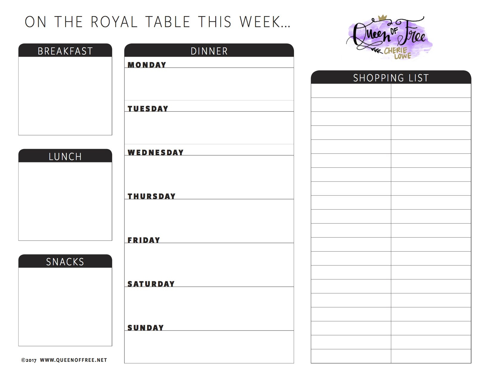 All New Free Printable Meal Planner You Can Edit  Queen Of Free Inside Blank Meal Plan Template