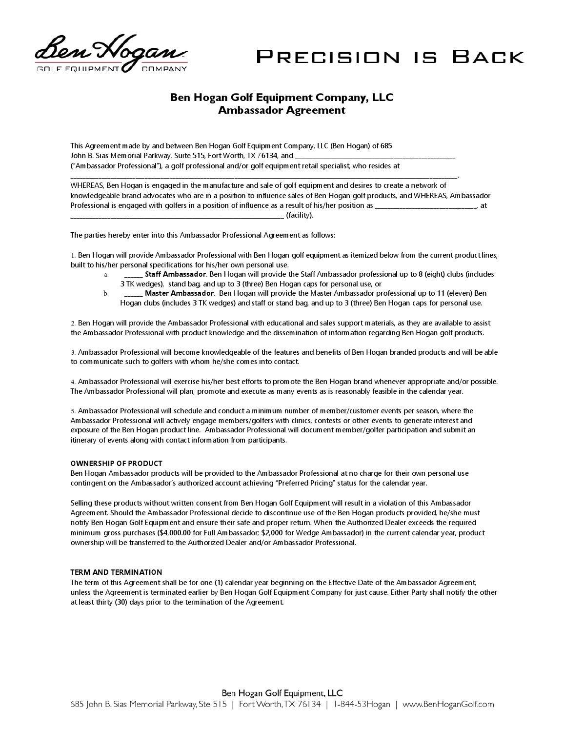 Ambassador Agreementben Hogan Golf  Issuu With Brand Ambassador Agreement Template
