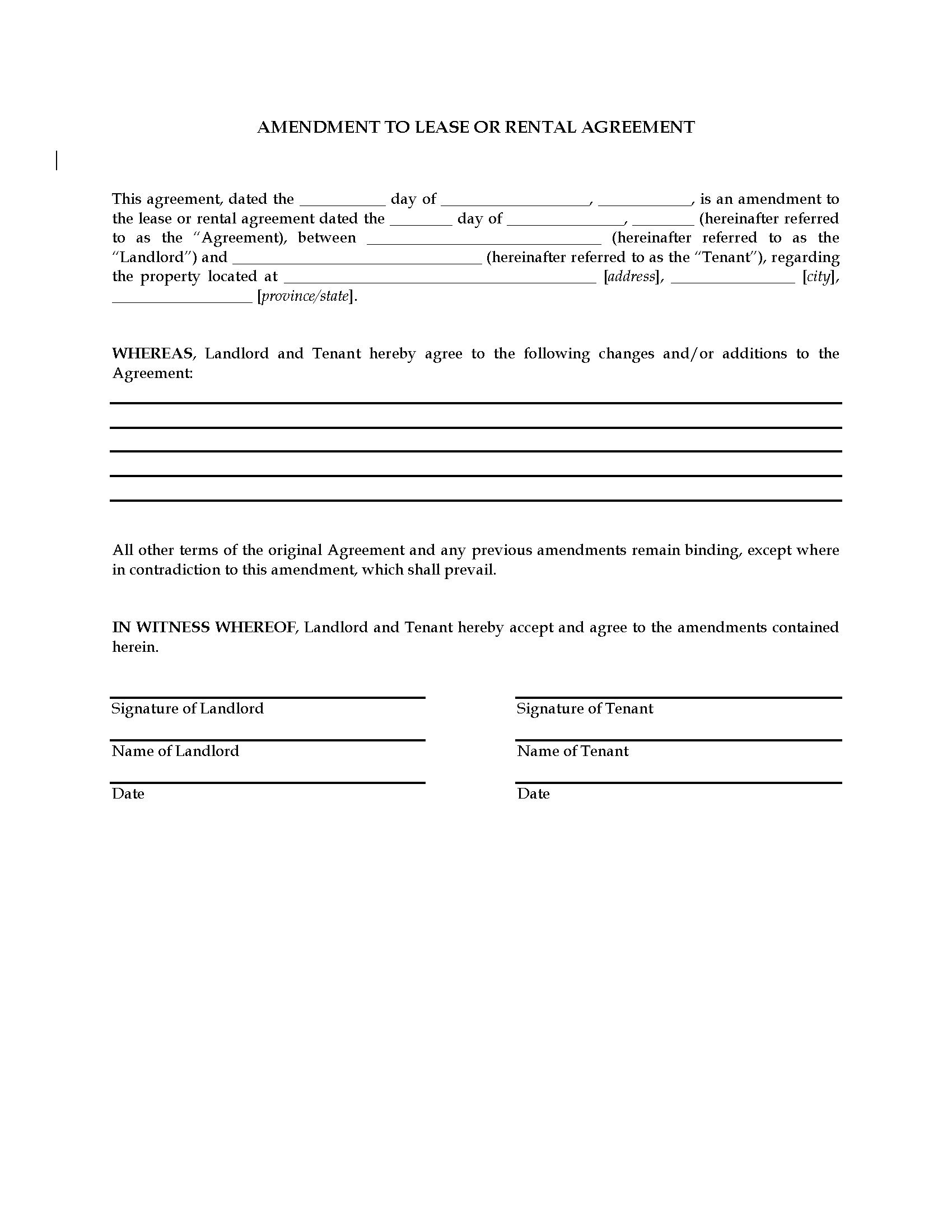 Amendment To Lease Or Rental Agreement  Legal Forms And Business For Business Lease Agreement Template