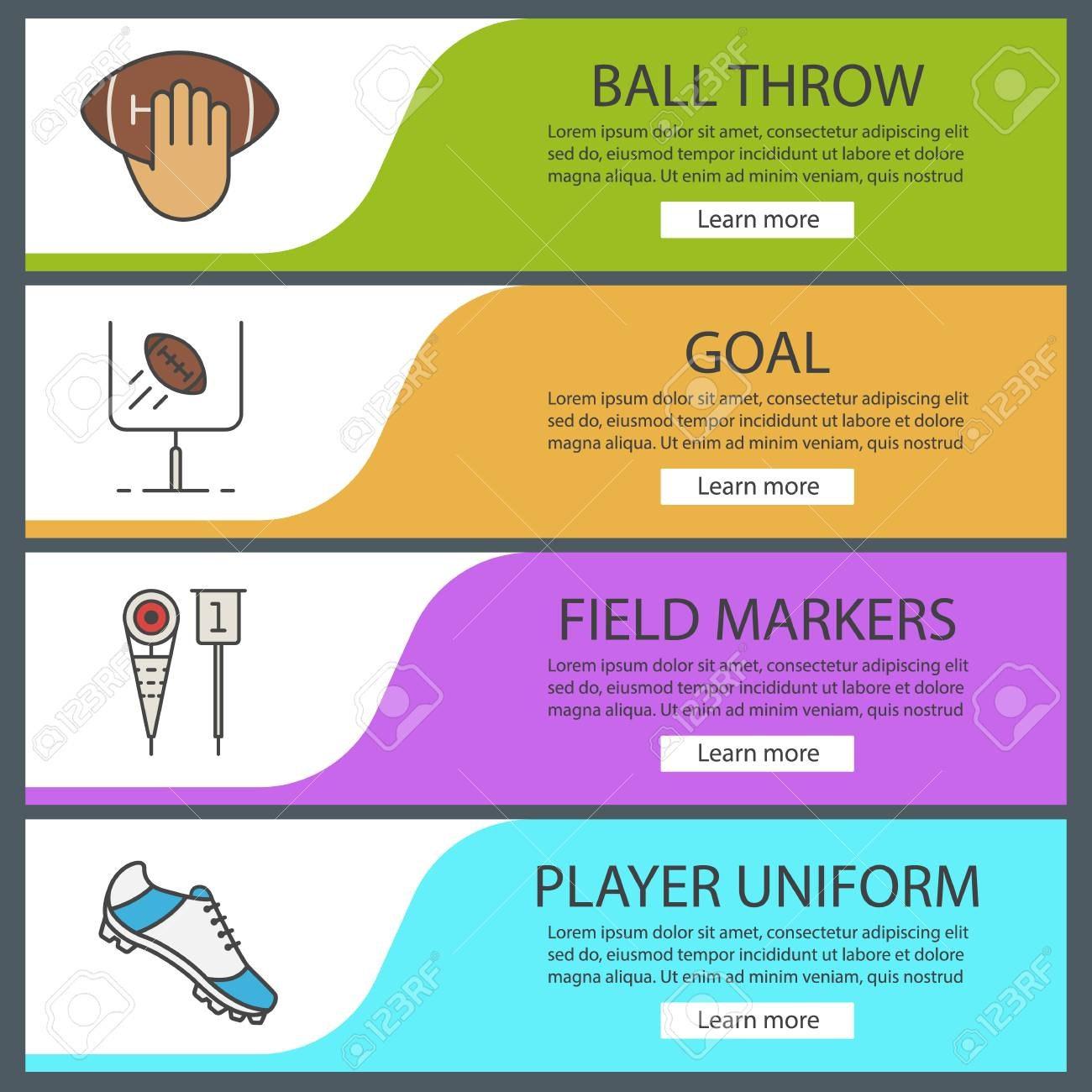 American Football Banner Templates Set Ball Throw Goal Field Intended For Football Menu Templates