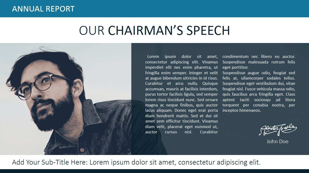 Annual Report Template For Powerpoint  Slidemodel In Chairman's Annual Report Template