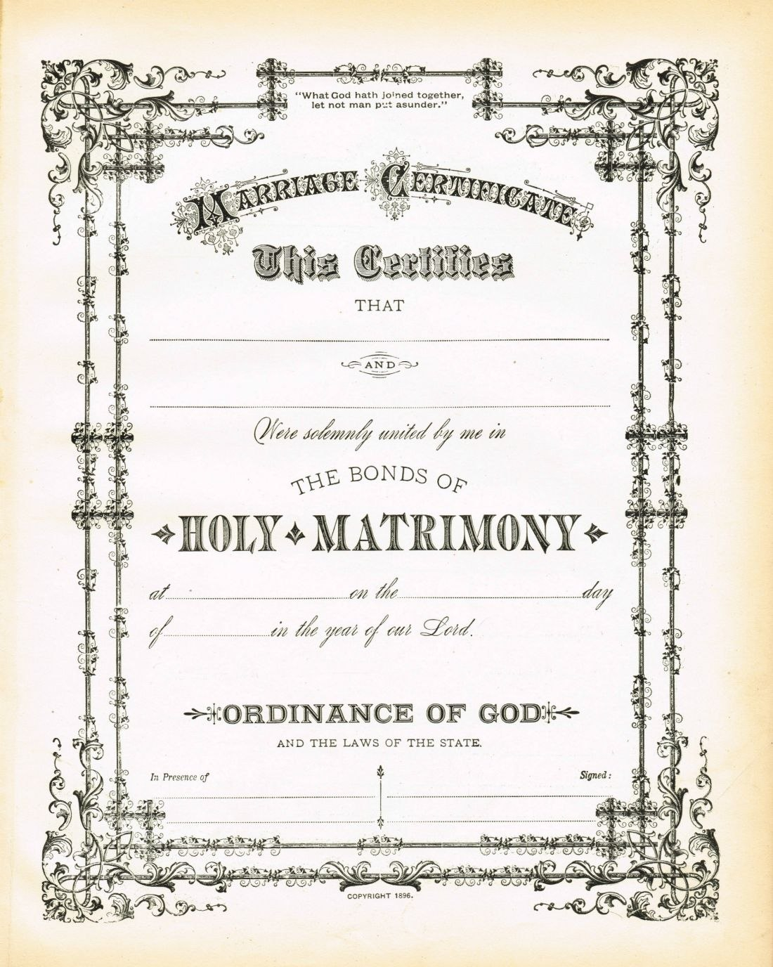 Antique Certificate Of Marriage Printable  English Wedding Project Intended For Blank Marriage Certificate Template