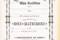 Antique Certificate Of Marriage Printable  English Wedding Project within Certificate Of Marriage Template