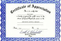 Appreciation Certificate Templates Free Download throughout Template For Recognition Certificate