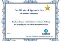 Appreciation Training Certificate Completion Thank You Word Letter pertaining to Workshop Certificate Template
