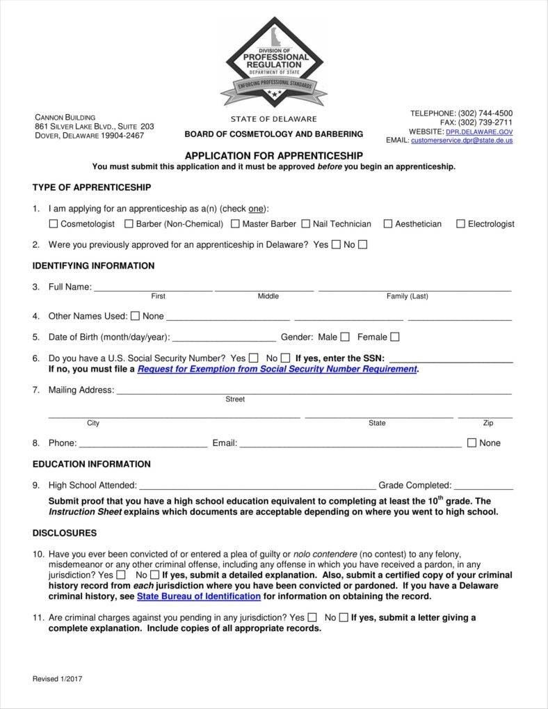 Apprenticeship Application Form Templates  Free Word Pdf Excel With Apprenticeship Agreement Template